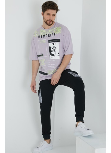 XHAN Lila Japon Karakter Baskılı Salaş T-Shirt 1Kxe1-44644-26 Lila